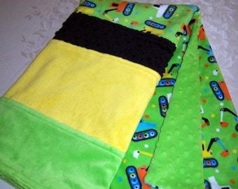 Bright Lime Green With Orange, Yellow, Blue And White Construction Cranes Minky Baby Blanket
