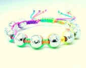 Neon Beaded Macrame Bracelet in Silver, White, and Rainbow - Adjustable