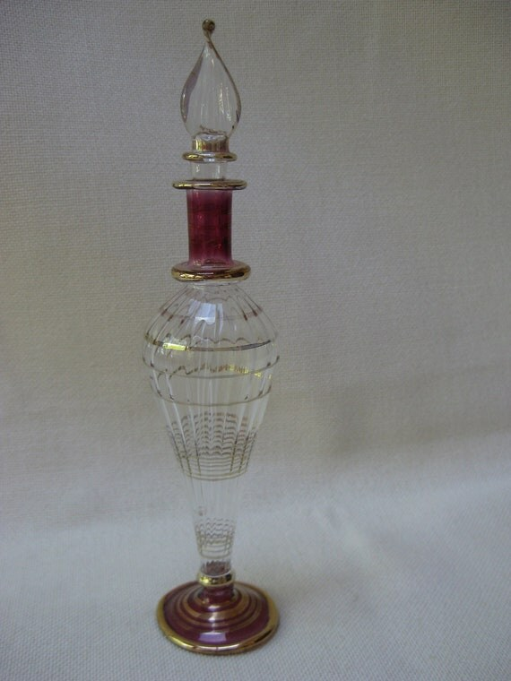 Antique Cranberry and Gold Perfume Bottle