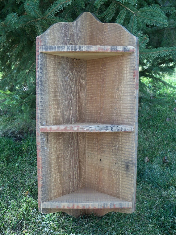Reserved for Linda --- Brown Barnwood  Corner Shelf - 32 inches tall, 3 shelves