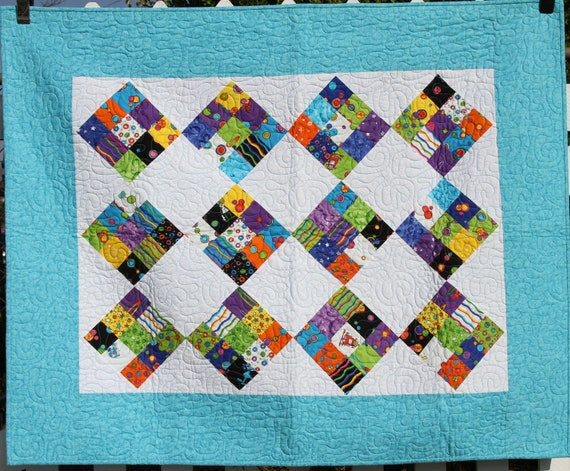 Unique handmade quilt teal orange purple and outer for Outer space quilt patterns