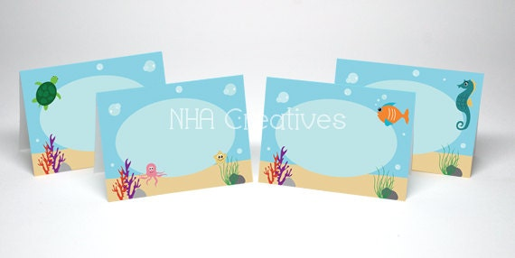Under the Sea Place Cards DIY Printable Digital File