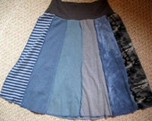 Upcycled Aline T-skirt Skirt in Blues and Grays--size Smallish