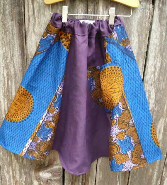 Purple Hemp/Tencel & African Print Skirt for Growing Girls