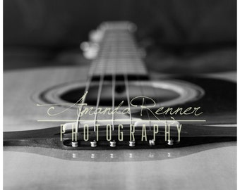 Fine Art Photography - 11x14 Canvas Gallery Wrap - Black and White Acoustic Guitar