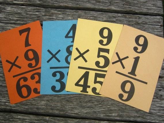 Vintage Multiplication Flash Cards - Iroquois Copyright 1927 Multiplication Cards