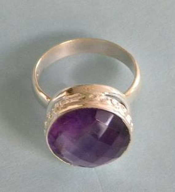 Genuine Purple Amethyst Ring Round 15mm Cut Sterling Silver 925 Band Size 7 1/2 Take 20% Off