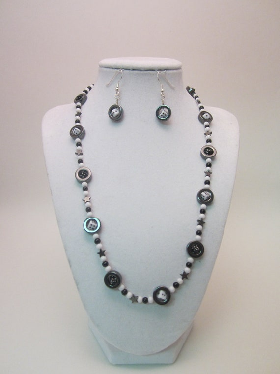 Black and White Dice in a Ring Necklace and Earring Set, Hematite Rings and Stars