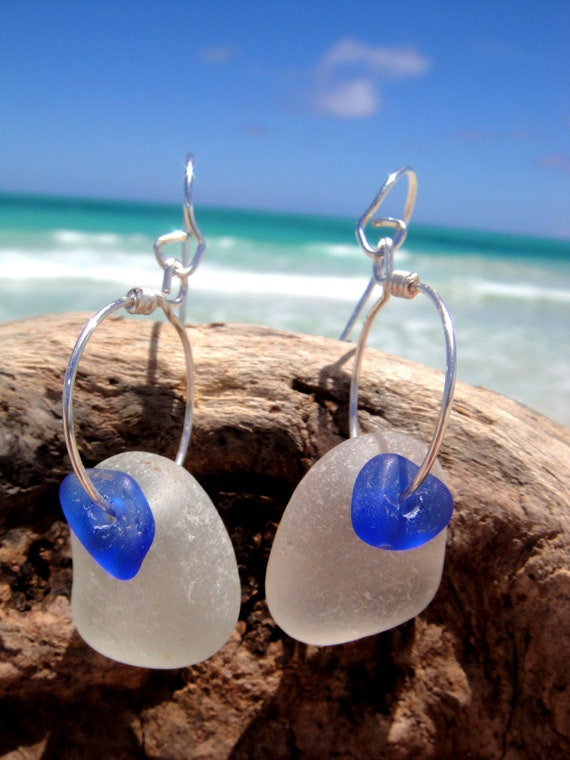 RESERVED FOR ELLIE - Hawaiian Rare Cobalt Blue Beach glass over Clear Beach Glass on Silver Plated Circular Wire Small Hoop Earrings