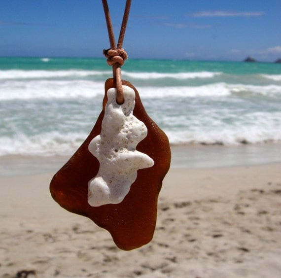 RESERVED - Hawaiian Amber Brown Beach Glass with Beautiful Coral Overlay on India Leather, completely adjustable, Necklace