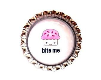 Bottle Cap Magnet - Cupcake Bite Me - Humor - Refrigerator Magnet, Bottlecap Decor