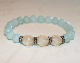 Amazonite bracelet, Gemstone bracelet, Amazonite stretch bracelet, Stacking bracelet