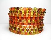 Memory Wire Bracelet Autumn Brown and Orange Beaded Wrap Bracelet
