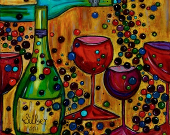 New Reproduction of my painting Gala, whimsical, wine themed, warm bright colors, size 12x12
