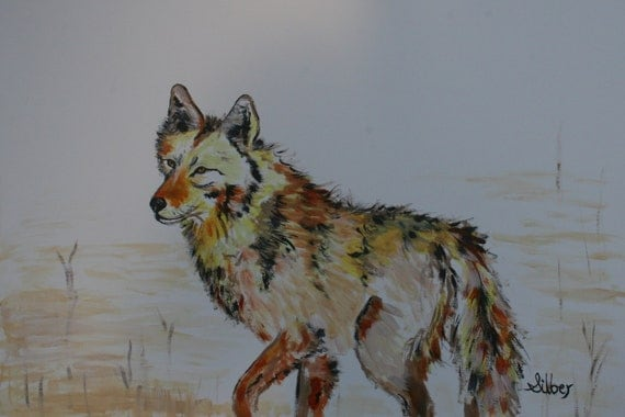 Original painting, wolf standing in wait, in soft earth tone colors on paper, 12 x 18, acrylic painting