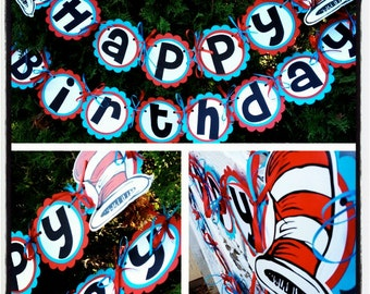 Dr. Suess red and white hat  Inspired Birthday Banner - Ready to Hang, Red, Blue, White