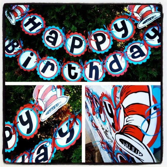 Cat Birthday Banner: Dr. Suess Red And White Hat Inspired Birthday Banner Ready