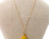 Yellow necklace. Love necklace. Hearts necklace. Gold filled necklace. Yellow turquoise necklace. Yellow bezel necklace.