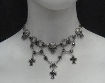 Torture Choker Hematite Swarovski Crystals, Antique Silver plated hypoallergenic 5030CH