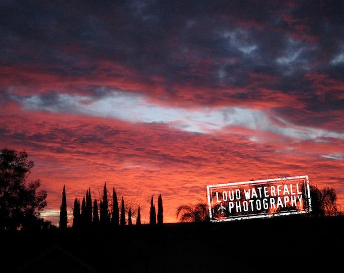 Fiery Sunset, Perks to LA Smog, Los Angeles  California 8x12 Fine Art Photograph