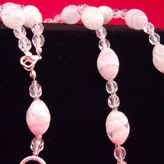Pretty in Pink & White Czech Beads - Lanyard
