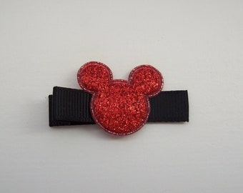 Girls Hair Accessories - Appliqué Hair Clips - Red Glitter Puffy Mickey Mouse Hair Clippies - One Dollar - Hair Clips Clippies - Disney Clip