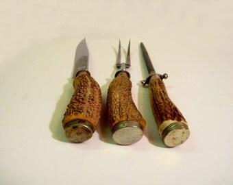 Vintage Ed Wusthof Rostfrei Antler Stag Carving Set Beautiful Etched Blades Solingen Germany Knife Sharpener Fork