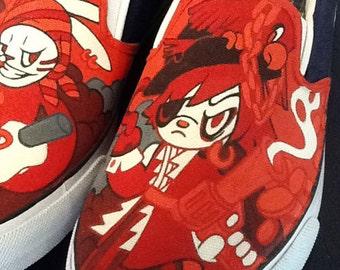 Annatar original design, custom shoes, hand painted shoes