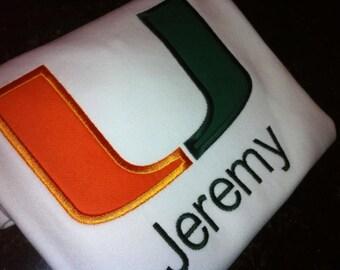 Personalized Boy or Girl Applique Tee or Tank (Hurricanes ) Miami U