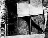 Industrial Photography Print - Window Panes Frame Building Angles - Black and White Fine Art Photograph - Wall Art