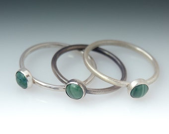 Green Ring - Stackable Sterling Silver Eilat Stone Ring
