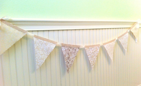 White  Garland, Whites and Cream Fabric, Crocheted Lace, Double Sided,Fabric Bunting, Winter Spring Bunting