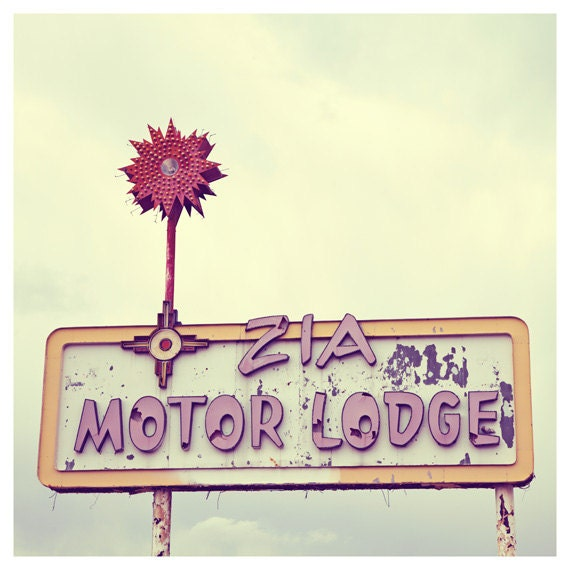 Route 66 Photograph, Motel Sign, Zia Motor Lodge Vintage sign photography, Pastel Colors - Faded Glory