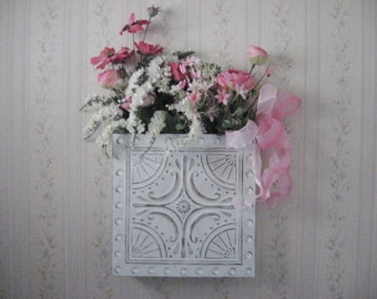 White Ceiling Tile Wall Pocket Home Decor Rose Pink White Floral Arrangement