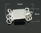 s00641- 1 Sterling Silver Box Clasp for 3 strand necklace, rectangle, 14x8x4mm, Hole: 1.5mm with Jumprings.