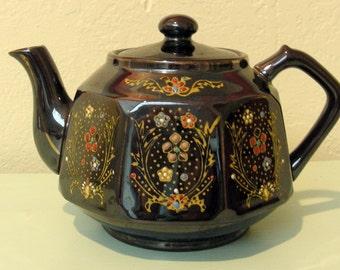 Vintage Handpainted Dark Brown Glazed Small Teapot - Made in Japan