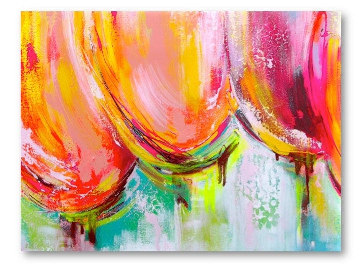Pink Abstract Canvas Art: Large Original Abstract Painting Tulips Pink Orange