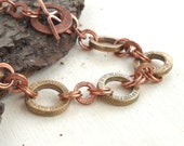 Copper Bronze Chain Link Chunky Bracelet Two Tone Mixed Metal Metalwork Jewelry Handmade OOAK Unique Artisan Steampunk Christmas Gifts