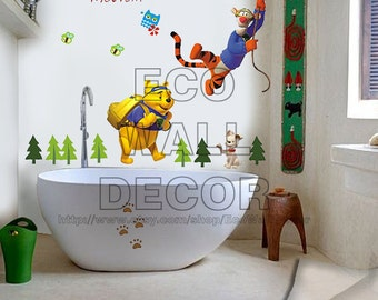 PEEL and STICK Kids Nursery Removable Vinyl Wall Sticker Mural Decal Art - Winnie the Pooh and Tiger Swinging II