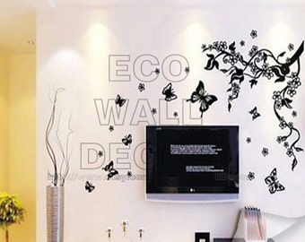 PEEL and STICK Removable Vinyl Wall Sticker Mural Decal Art - Dancing Butterflies and Tree Branch