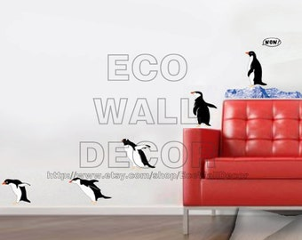 PEEL and STICK Removable Vinyl Wall Sticker Mural Decal Art - Lovely Fun Penguin Group Drive