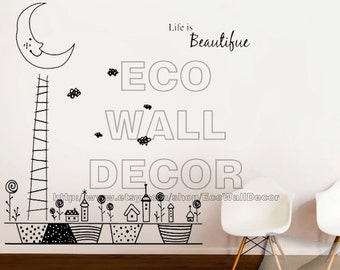 PEEL and STICK Removable Vinyl Wall Sticker Mural Decal Art -  Life is Beautiful with Moon