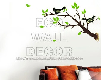 PEEL and STICK Removable Vinyl Wall Sticker Mural Decal Art - Birds and Tree Branch
