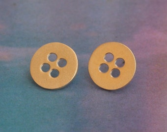 Gold Button Earrings , Small Round Studs , Button Jewelry , Gift for Mom , Designer gift , Button Studs , Button Posts , Gift for Mom