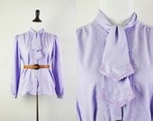 Vintage 70s Blouse / 1970s Secretary Blouse Lilac Purple Ascot Top L XL
