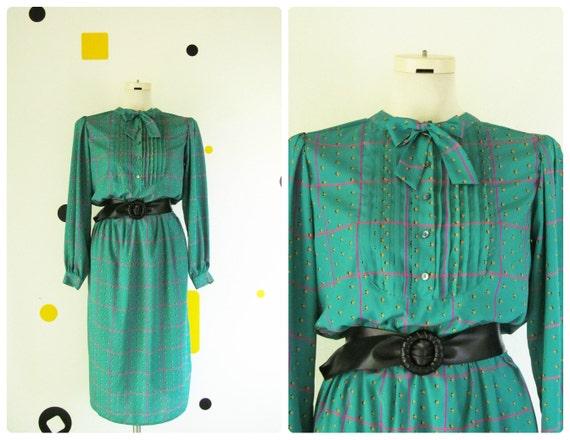 CLEARANCE 80s Secretary Dress Teal Green Bib Neck Bow S M