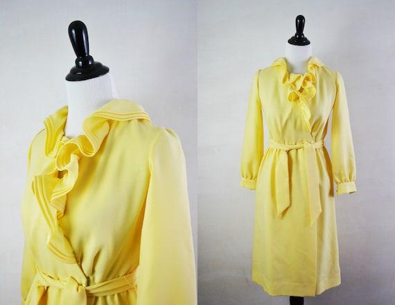 Vintage 70s Dress / 1970s Secretary Dress Wrap Yellow Ruffles XS S