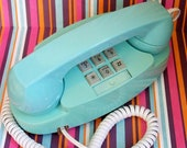 Vintage Powder Blue Princess Push Button Telephone  Works Great