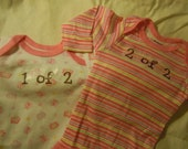 adorable little set of twin onesies size 3 to 6 months butterflies and stripes