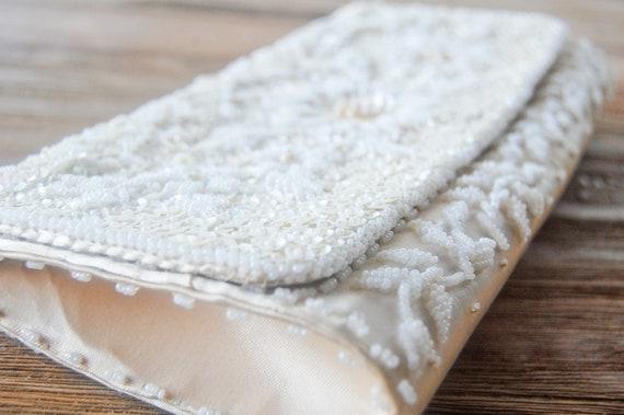 Antique White/cream vintage beaded clutch purse--bridal, wedding